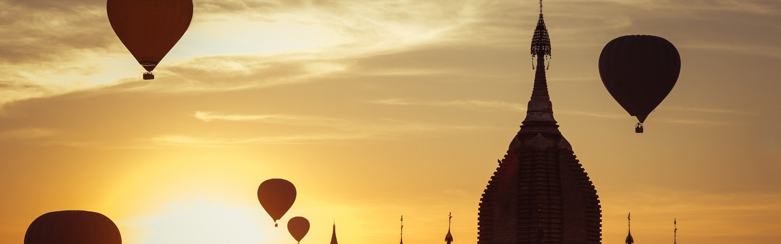 Hot air balloons over mosques